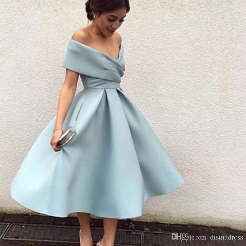 New Light Blue Prom Dresses Off The Shoulder Tea Length Short Party Cocktail Dress High Quality Homecoming Dresses Formal Dress