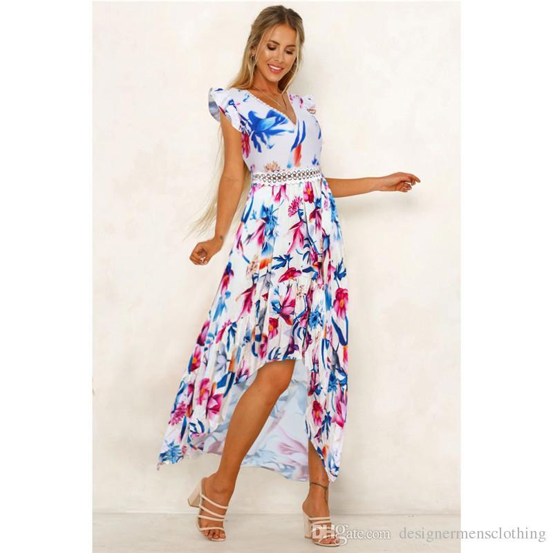 Compre Con Cuello En V Encaje Paneles De Flora Vestidos Impresos Primavera Verano Sin Mangas Para Mujer Vestidos Casuales Ropa Femenina Asimétrica A