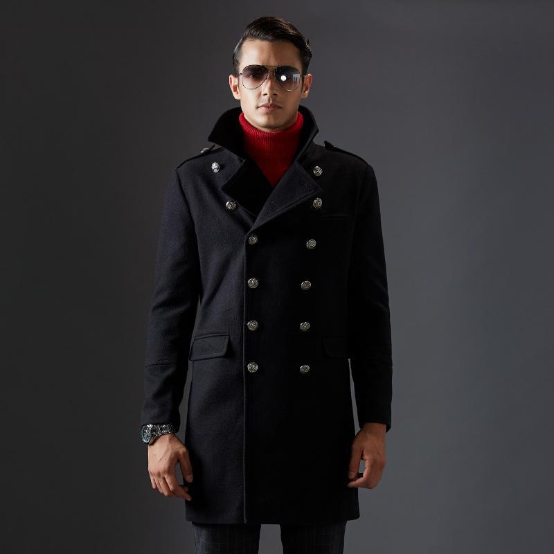 Lana maschile miscele da uomo giacche invernali su cappotto uomo 2021 moda extra lungo slim fit trench blu nero marca wollen per ragazzi