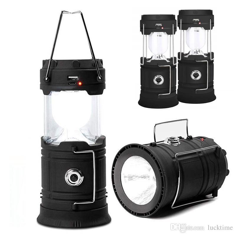 Nova Solar Powered LED recarregável Camping Lanterna portátil dobrar lanterna dobrável luz Tent Lanterna de Emergência luz recarregável
