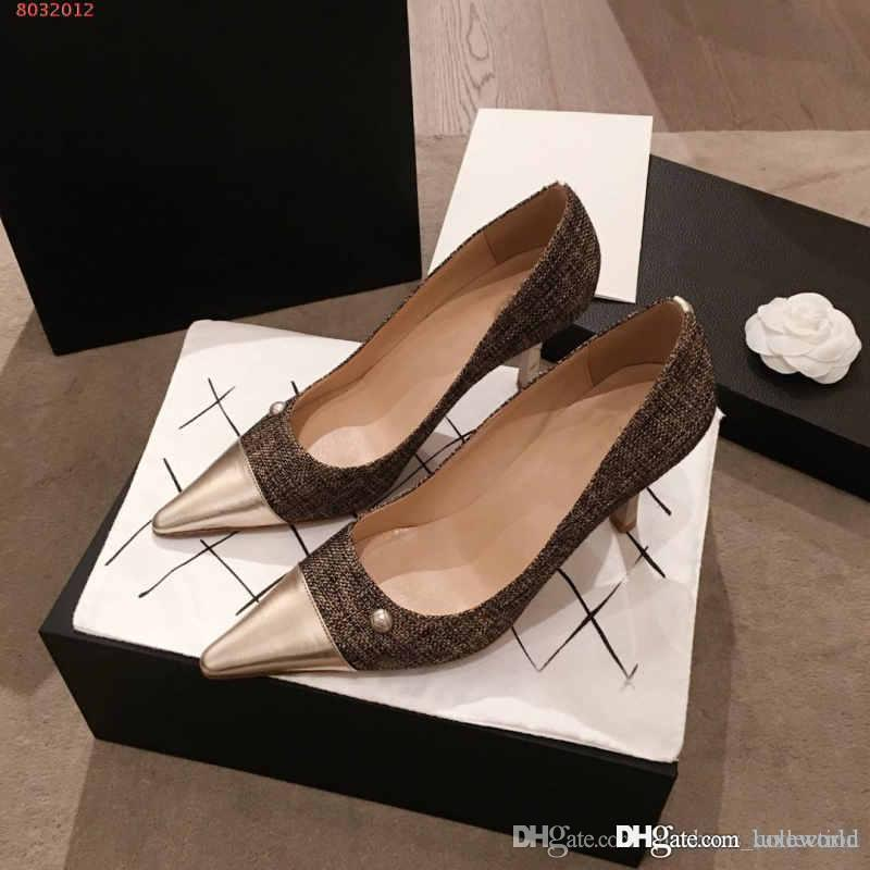 Classic High Heels women shoes, Leather splicing woven fabric pointed toes shoes, Wedding and Daily Use.