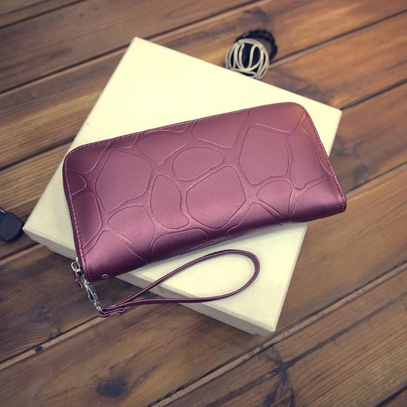 Искусственная кожа женщины кошелек большой емкости молния портмоне мода женщины кошельки женские деньги держатели карт телефон чехол клип карман
