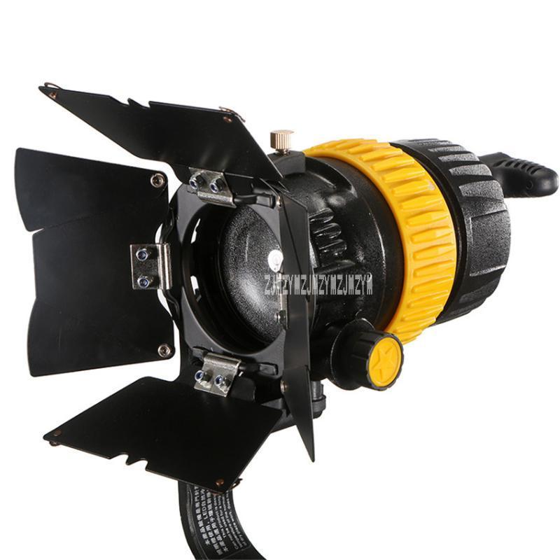 Nueva FC-500A Cine Proyector portátil de alta calidad 5600K / 3200K Proyector LED 50W Lámpara fotográfica AC90-260V / DC12-24V 5-50 Grado