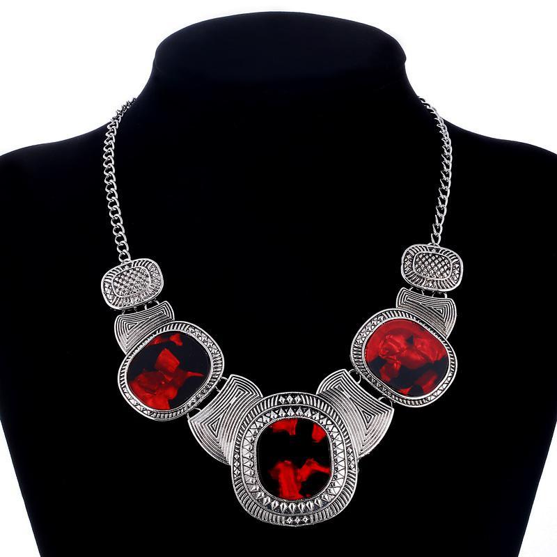 Collier ras du cou Bohême Bib Collares Argent Plaqué géométrique Perles Colliers Bijoux Chunky Choker Déclaration Cadeaux Bijoux