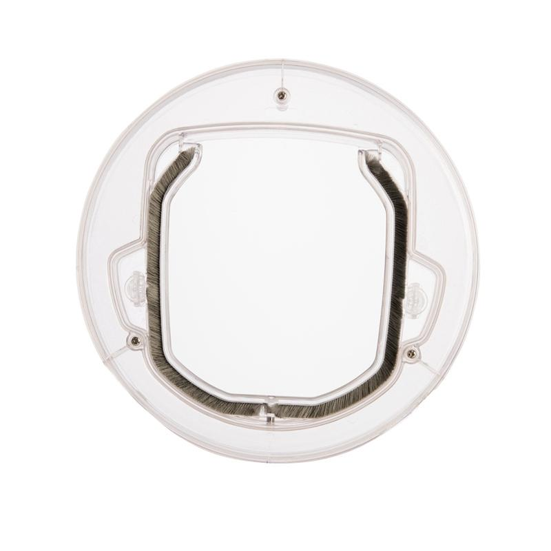 4 Ways Round Clear Pet Locking Flap Door Household Cat Gate Lockable Security Pet Entrance For Interior Exterior Glass Window