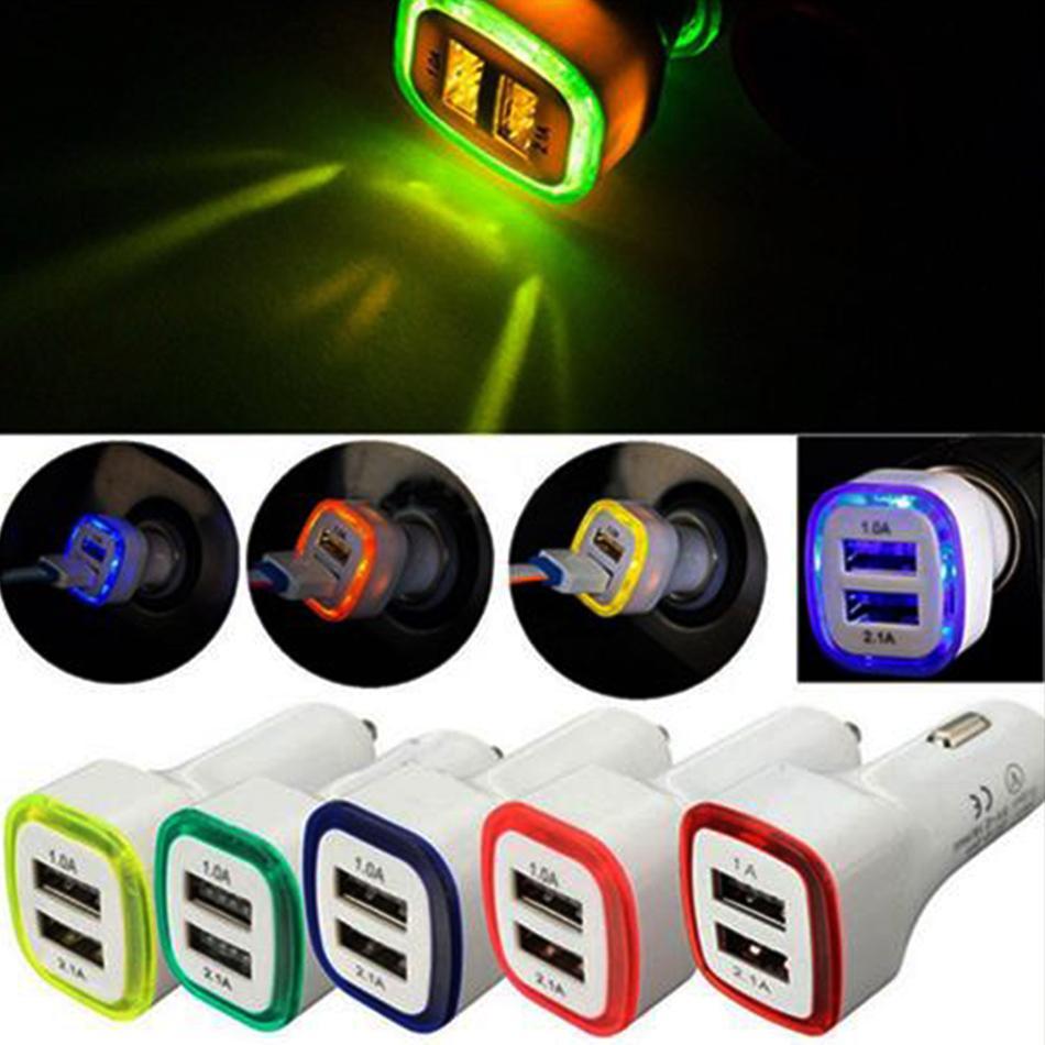 LED de los puertos duales del cargador del coche 5V 2.1A adaptador de corriente para vehículos portátil USB Cargador de coche para los teléfonos iPhone Samsung Huawei Universal