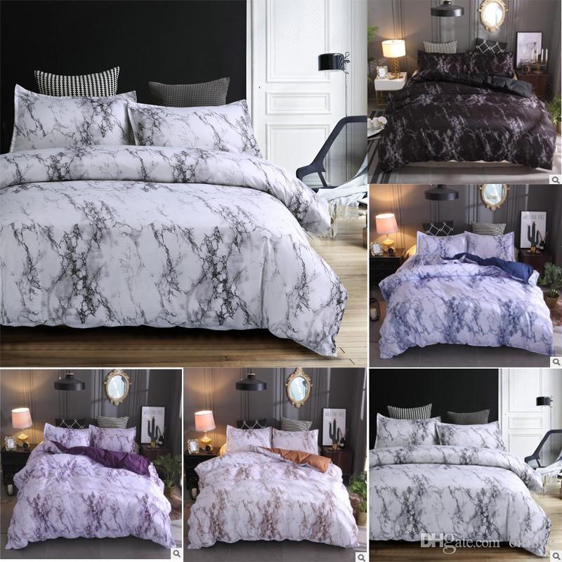 Marmor-Muster-Bettwäsche-Set von 3-Bett-Sätzen Kissenbezug Doppelbett enthalten keine Blätter und Polsterung XD22308