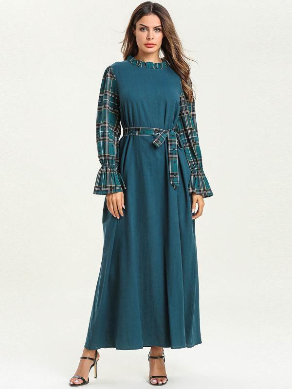 Big Swing Abaya Muslim Kleid Frauen lösen Lace-up Splice Kleider Maxikleider Dubai Arabische Juban Islamische Ethnische Kleidung Plus Size