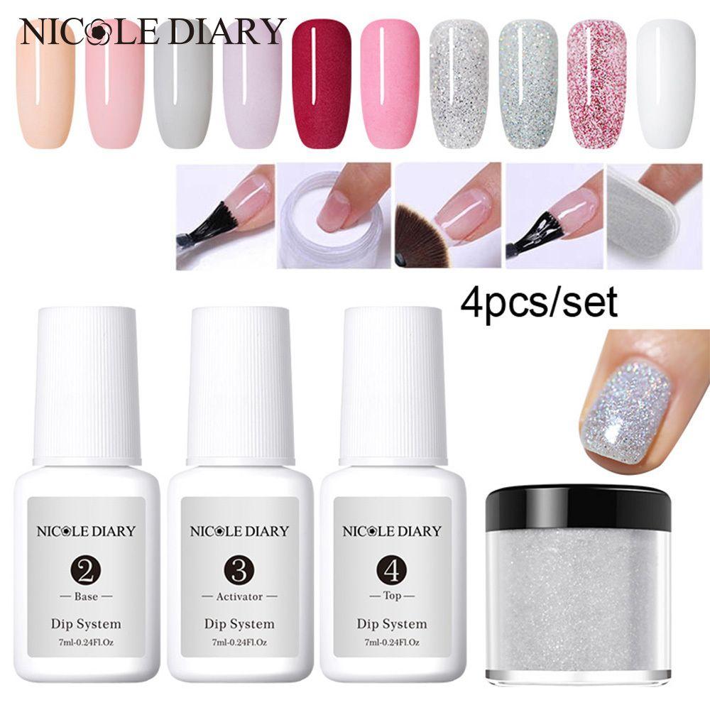 4pcs/set Dipping System Nail Kit Nail Art Dip Powder With Dip Base Activator Liquid Gel Nail Color