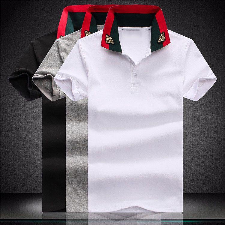 Роскошная дизайнерская мода классическая мужская медовая пчела вышитая рубашка хлопок мужская дизайнерская футболка белая черная дизайнерская рубашка поло мужской M-4XL