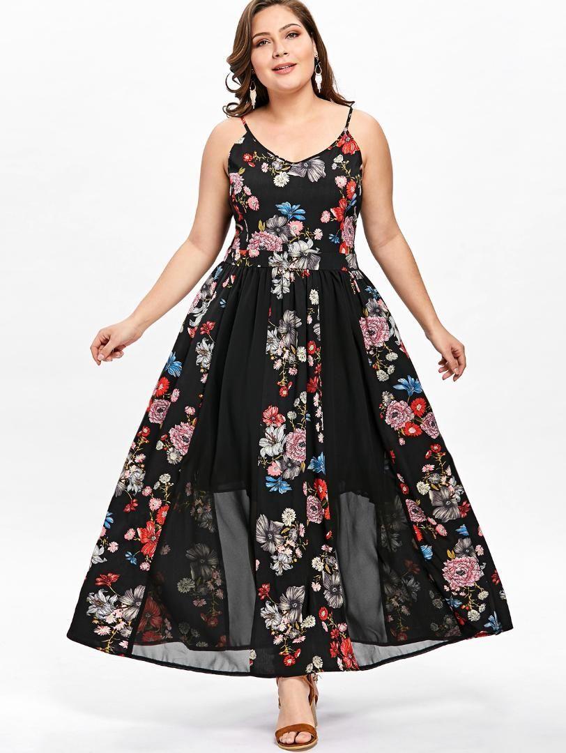 Wipalo Women 2019 Summer Plus Size Floral Flowy Bohemian Beach Dress Spaghetti Strap Sleeveless Lace Maxi Sundress 5XL Vestidos