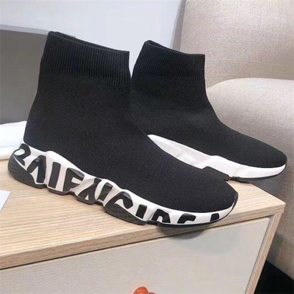 فاخر مصمم سرعة حذاء أسود أبيض الكتابة على الجدران وحيد أزياء الرجال والنساء KINT شبكة سرعة سوك حذاء رياضة الكاحل سوك أحذية أحذية عارضة US5-12