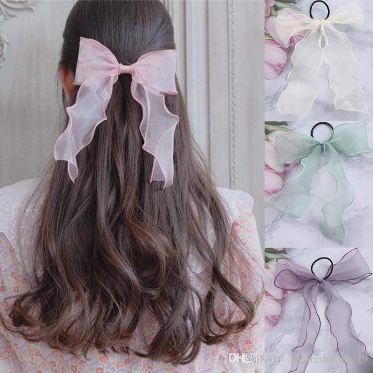 Coréen accessoires pour cheveux 8 couleur douce super fée arc bande cheveux cravate cheveux simple corde mode Gaze Bandeaux serre-tête Scrunchie