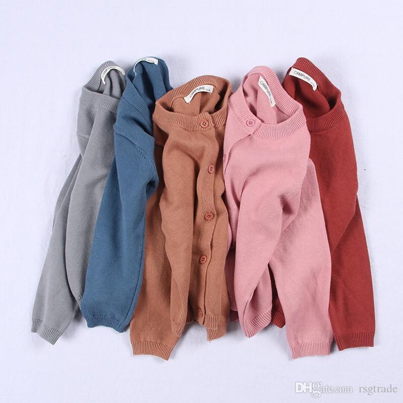INS 21 colores 2-6T niños Cardigan suéteres de algodón niños INS resorte del otoño chaqueta de punto de caramelo de las muchachas de la rebeca de los niños outwear