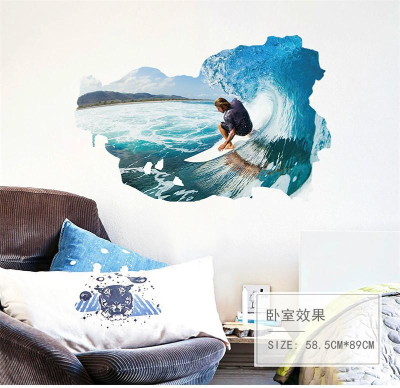 Surfing Wall Stickers For Kids Rooms bedroom living room background 3d Effect wall decals Art Living room Bedroom Home decor