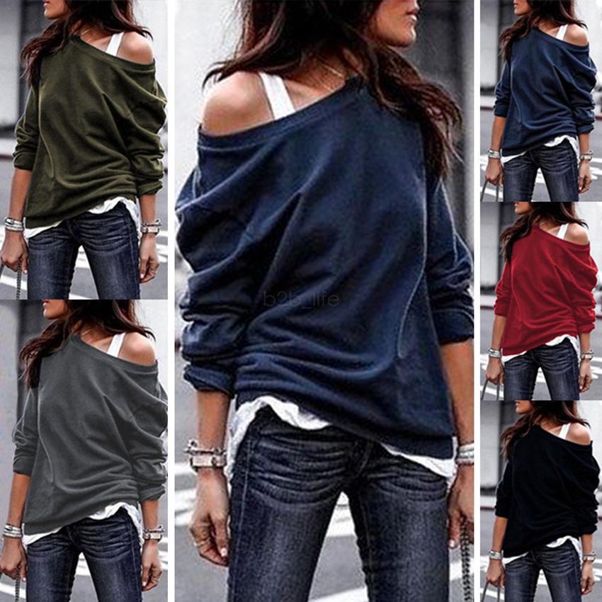 Kadınlar tişört Yaz giysi beden Saf renk katı üstleri omuz gömlek uzun kollu kapalı tee LJJA2546-11