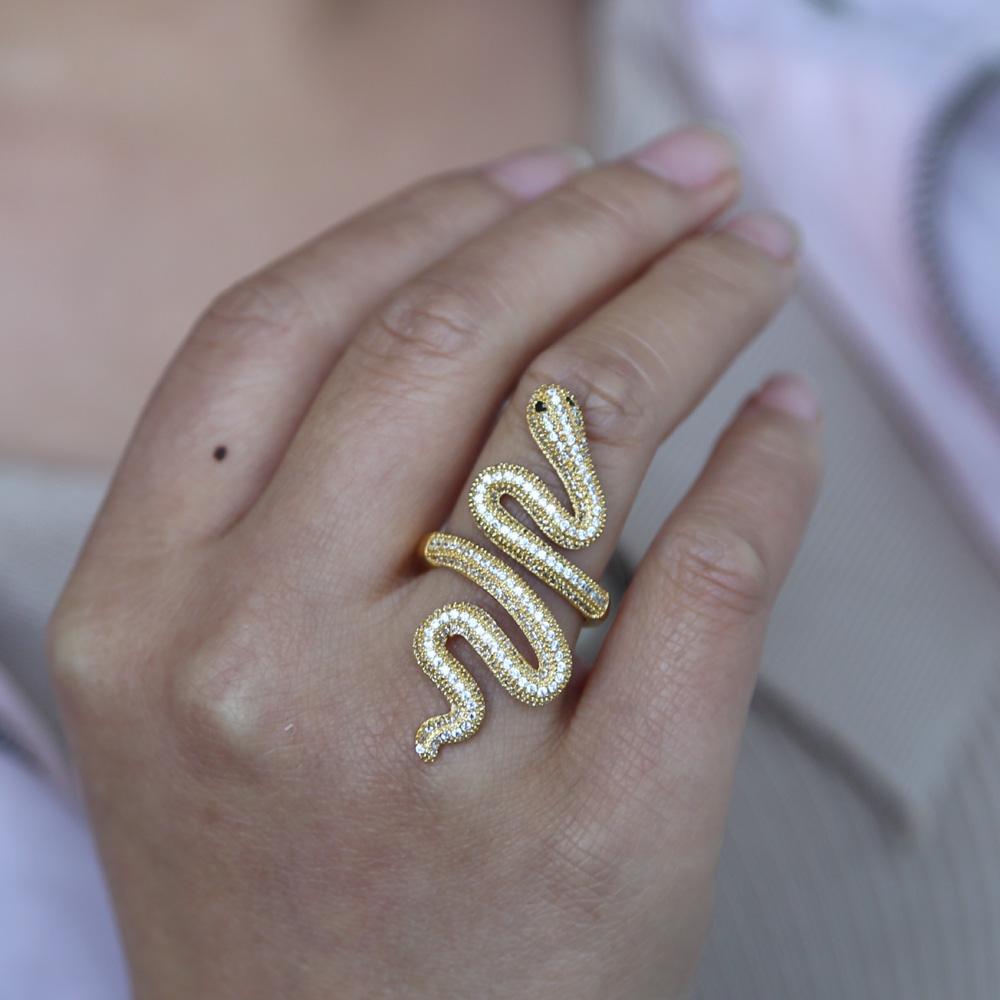الذهب شغلها متعددة الاعوجاج حلقة الأفعى للنساء الرجال كاملة فنجر مجوهرات مايكرو تمهيد تشيكوسلوفاكيا الأفعى شكل حجم 7 خواتم الاصبع الشرير الصخرة