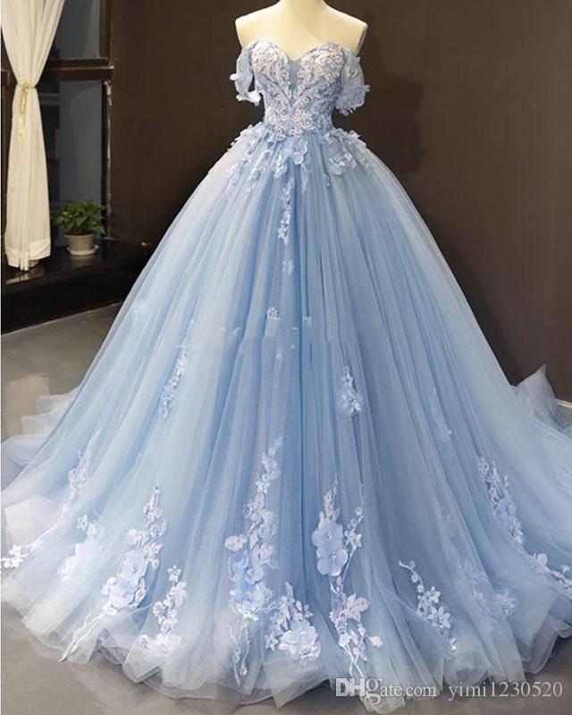 가벼운 하늘색 공 가운 성인용 드레스 어깨 아플리케 공식 저녁 파티 가운 달콤한 15vestidos 드 킨 세라