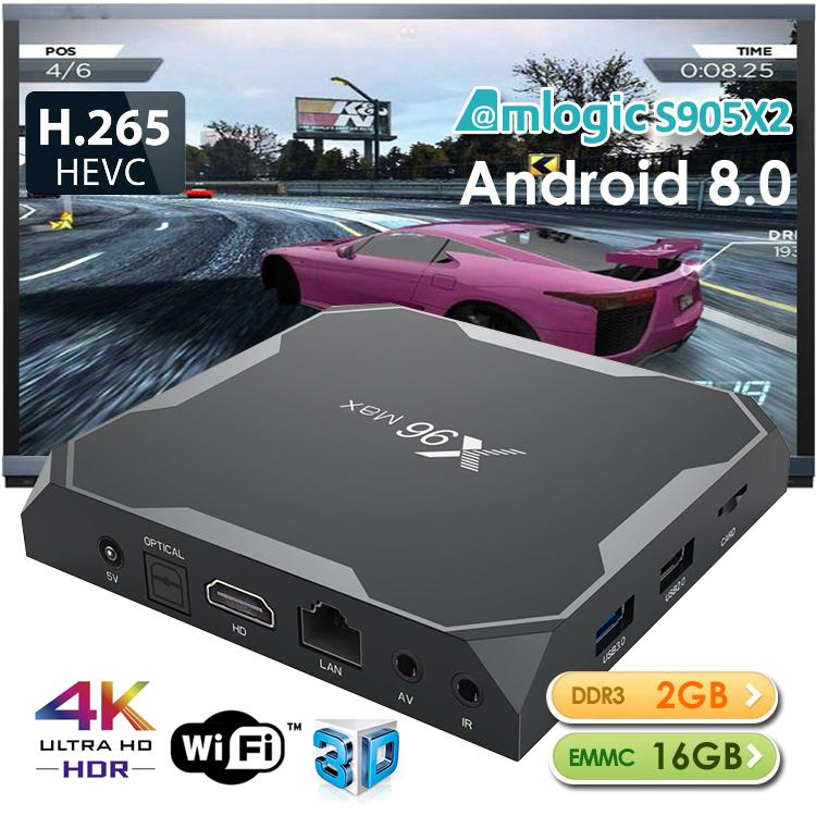 Android TV Box X96 MAX Amlogic S905X2 2/4GB+16/32/64GB Android 8.1 ROM 1000M LAN 2.4/5G Wifi Bluetooth