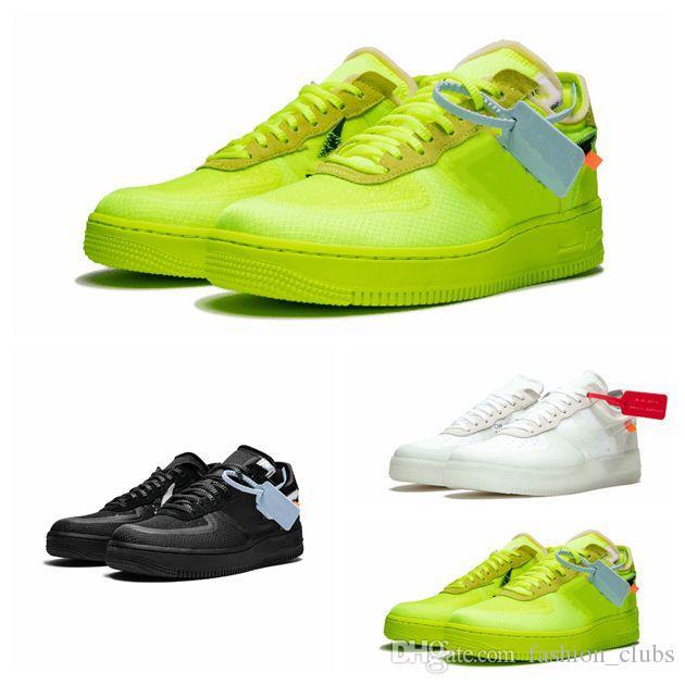 2019 scarpe migliore qualità BIANCO X NUOVO 1 The Ten Europa BIANCO 2.0 Chicago Virgilio polvere bianca verde nera UNC Basketball Training piatte