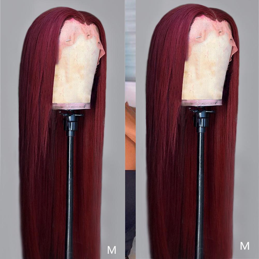 Nuova parrucca anteriore del merletto 13x4 Two Tone capelli umani parrucche 4x4 pizzo parrucca Chiusura rettilineo Dark Red Wine parrucca anteriore del merletto 150%