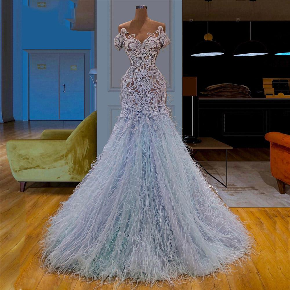 Baby Blue Feather Evening Dress 2020 Prom Dresses Illusion Lace Applique Top Long Formal Party Gowns robe de soiree