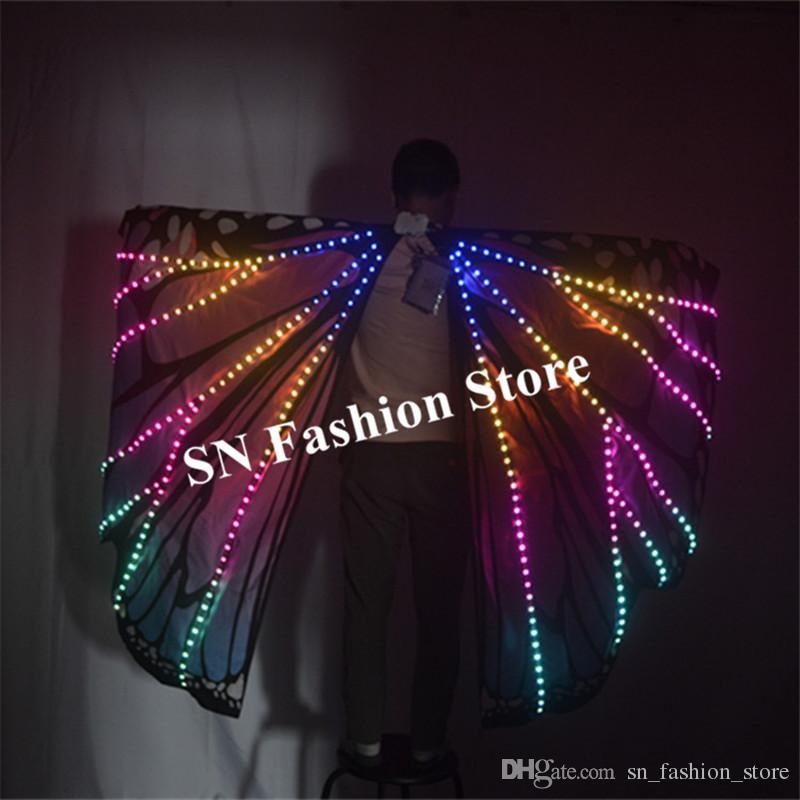 M58 Ballroom dance led costumes luminous light dj dance colorful cloak butterfly wings catwalk perforamance dress clothe show dj outfits led