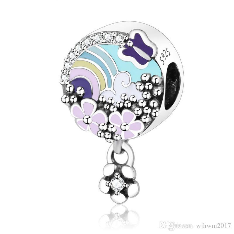 Novo Real 925 Sterling Silver Charme Arco-íris Com Flores Prado Flor História Cor Dangle Pingente Beads Fit Charme Pulseira DIY Jóias