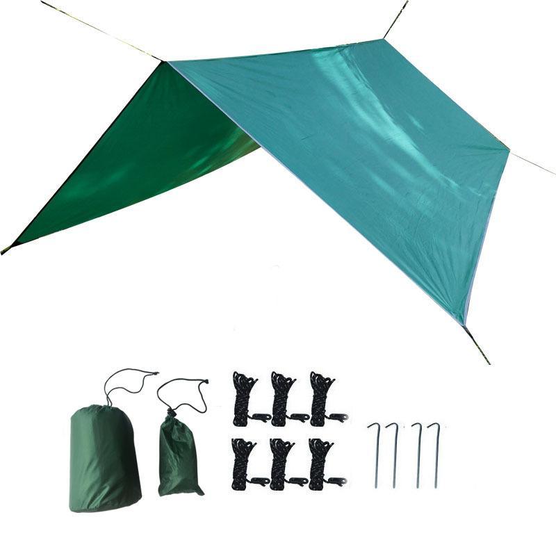 Camping Hammocks Sunshade Водонепроницаемый Дождь Дождь на открытом воздухе Палатка Ультра легкая Портативная Супер Большой Военный Грин Неба Занавес 72 3JQ P1