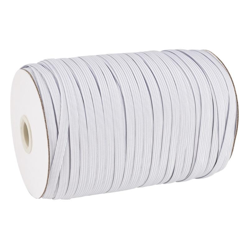 1 rouleau plat élastique Cordon Blanc Noir pour les vêtements couture bricolage main masque 4 mm 5 mm 6 mm 8 mm 10 mm 12 mm 14 mm