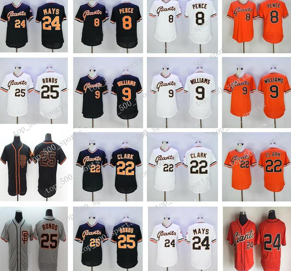 2019 Herren Jugendfrauen 8 Hunter Pence 9 Matt Williams 22 Will Clar 25 Barry Bonds 24 Willie Mays Jersey