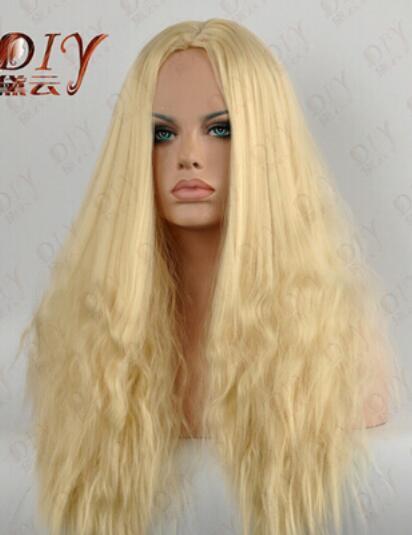 무료 배송 + + 금발 긴 뜨거운 물결 모양 옥수수 여자의 가발 열 코스프레 가득 차있는 머리카락