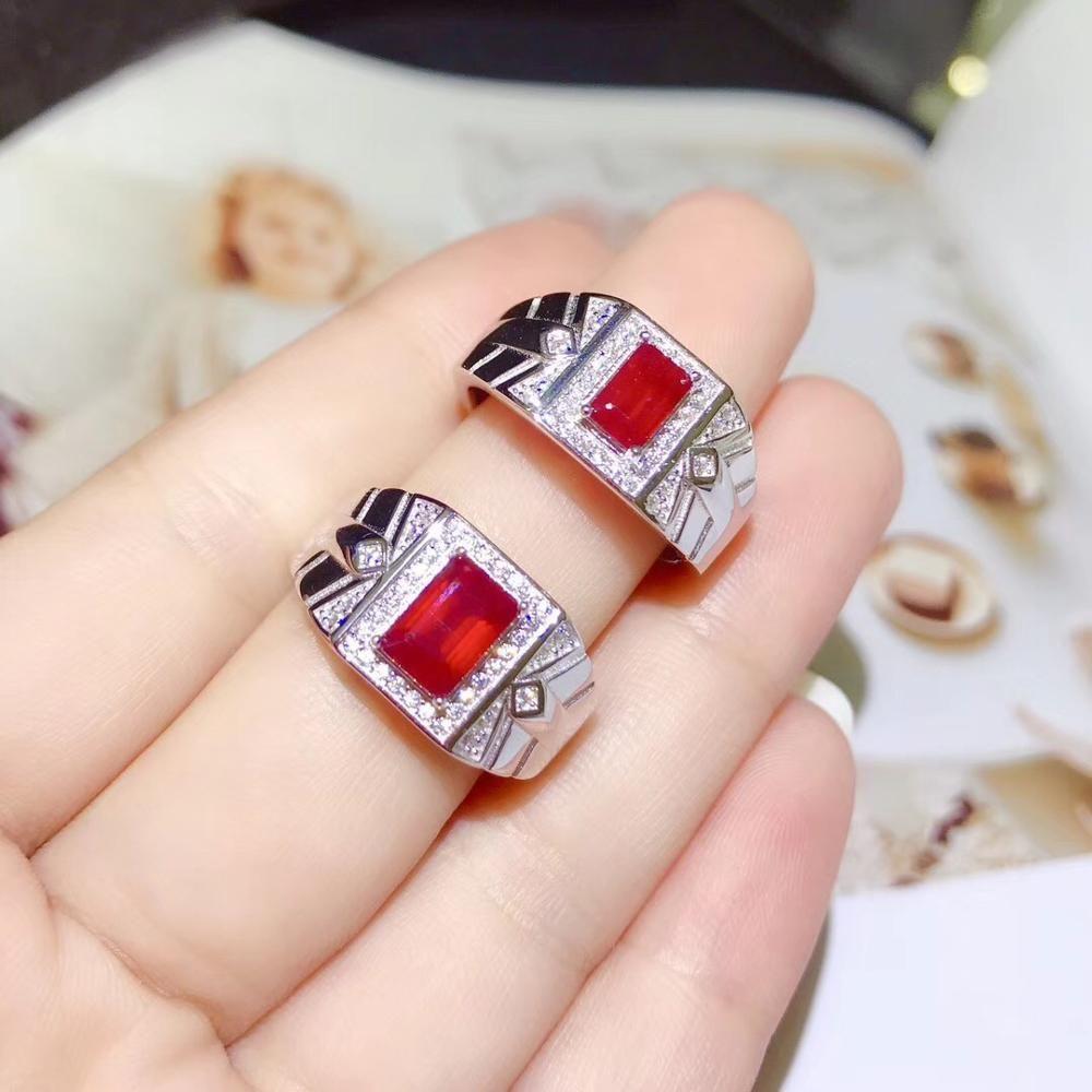 anillo de rubí natural para los hombres. Verdadera plata de ley 925, diseño de precisión. anillo jefe