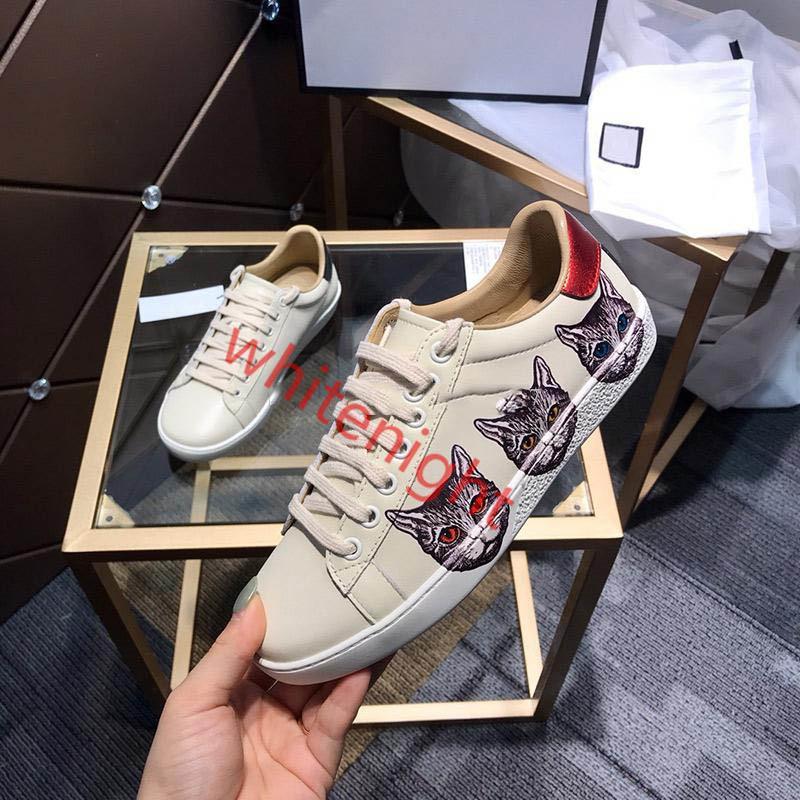Gucci shoes Top qualité Blanc Noir Chaussures Chaussures design en cuir véritable luxe hococal Bee Strawberry Tiger lacées Sandales Casual Hommes Femmes Lovers