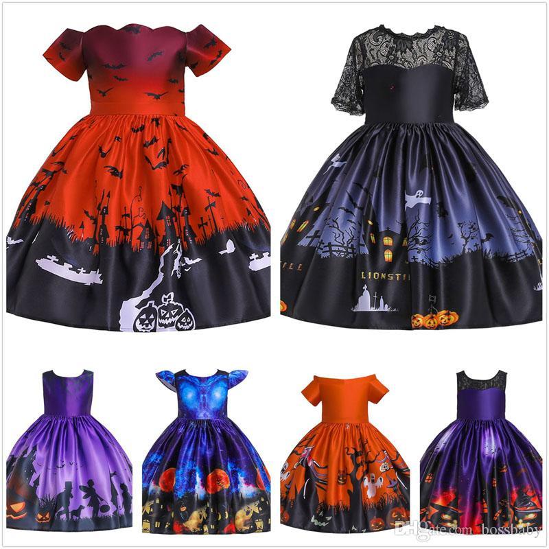 Robe fille Halloween 6 conception Gaze Bow une épaule chauve-souris citrouille imprimé cosplay robe enfants Vêtements Casual filles Baby Girl Robes 07