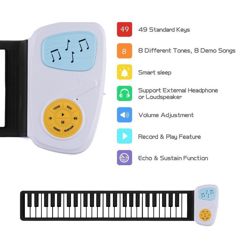 49 Clave Roll-Up-Piano altavoz rollo de la mano hacia arriba Piano teclado portátil plegable electrónico suave para principiantes niños