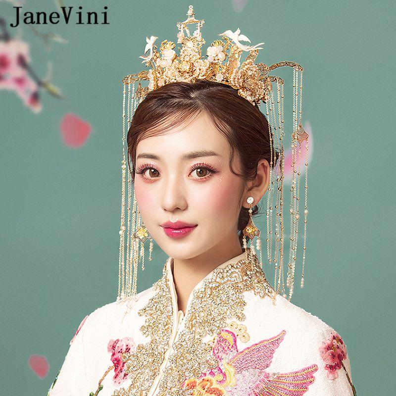 JaneVini 중국어 번체 스타일 웨딩 크라운 헤어 액세서리 머리 장식 쥬얼리 고대 헤어핀 진주 신부의 장식품 긴 Tassels