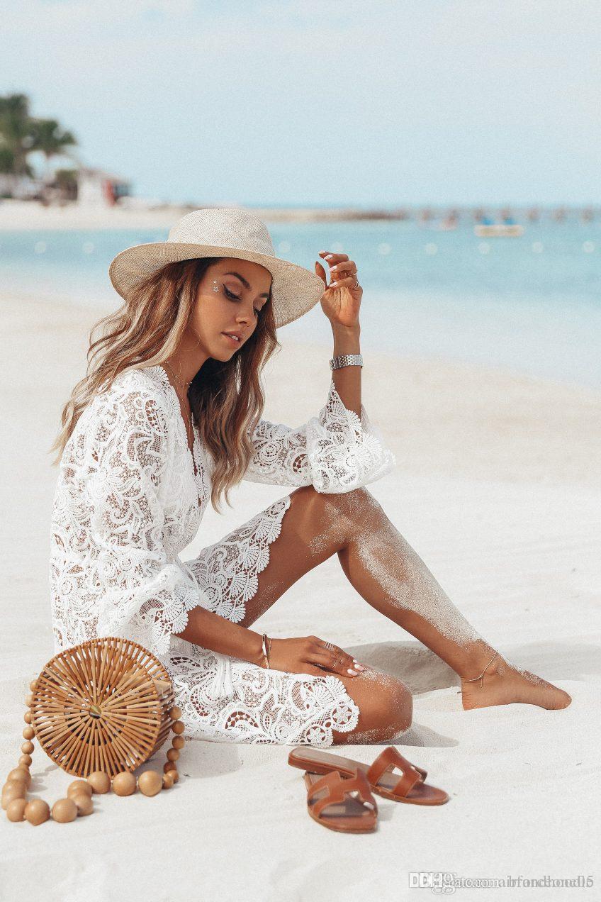 Designer Lace Mulheres Vestidos Verão Sexy Pescoço V Feminino assimétrica Roupa descontraída manga comprida Piping Vestuário