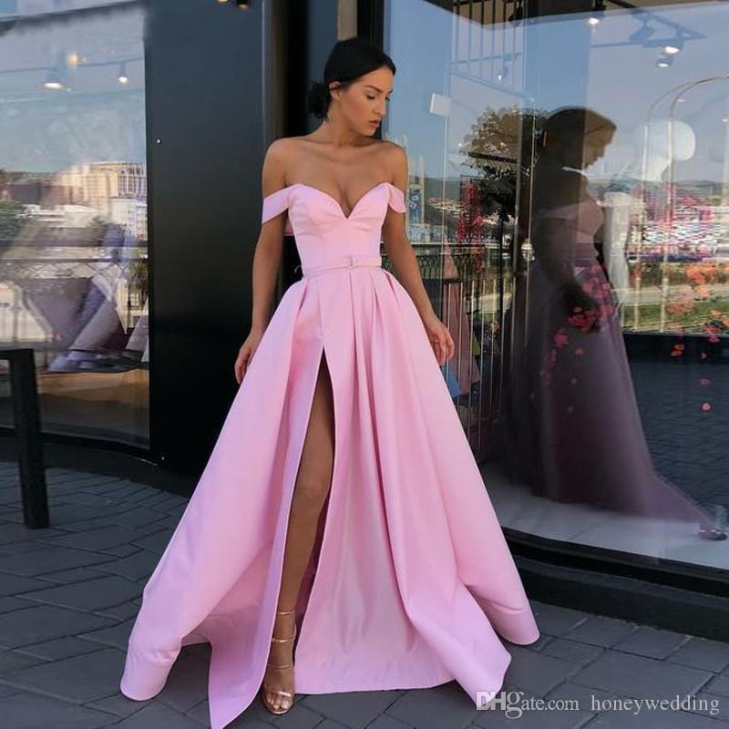 Schatz A-Linie Schulterfrei Satin Gelb Abendkleid mit Eingrifftaschen Lange Abendkleider 2019 Abendkleider