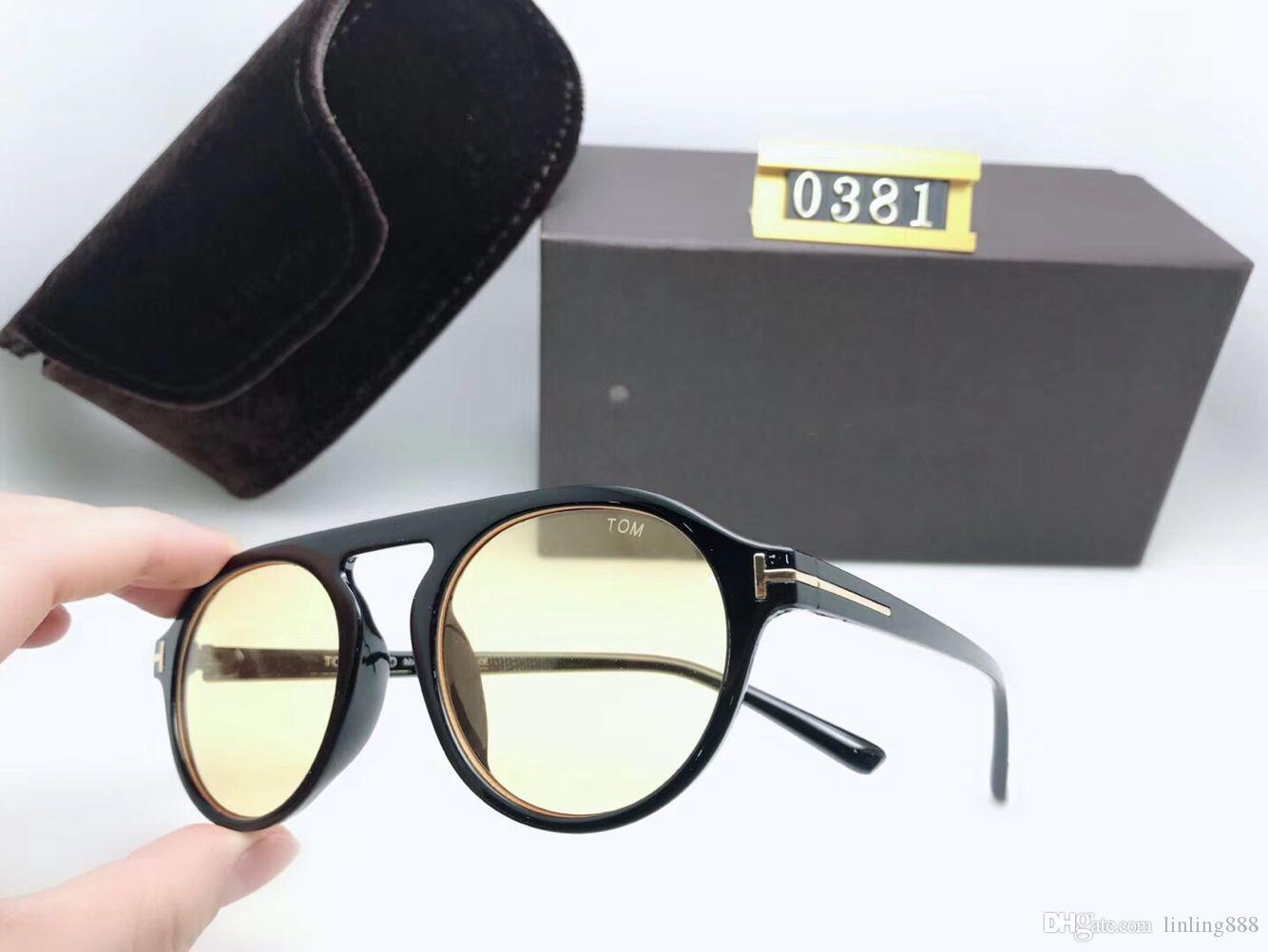 calidad superior de lujo Nueva moda mujer 0381 Tom Gafas de sol para hombre Mujer Erika Gafas Ford Diseñador Marca Gafas de sol con caja original UV400