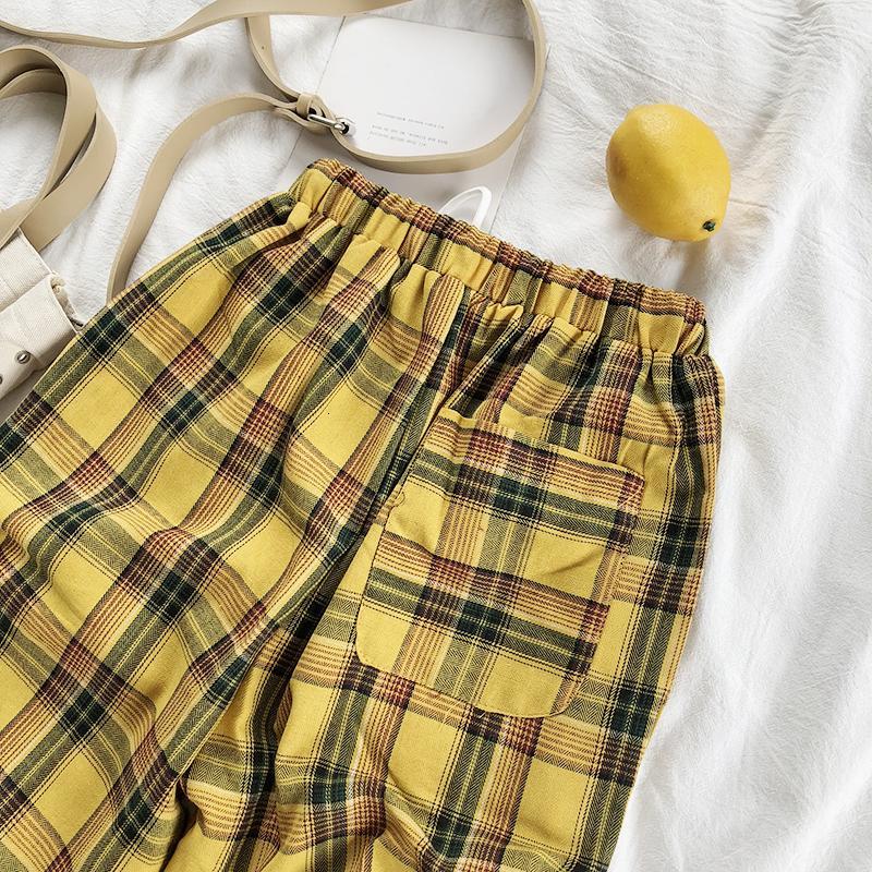 Calça Casual Amarelo Vintage xadrez japonês Harajuku Verão Calças Mulheres Casual cordão tornozelo Loose Comprimento calças perna larga gramagem