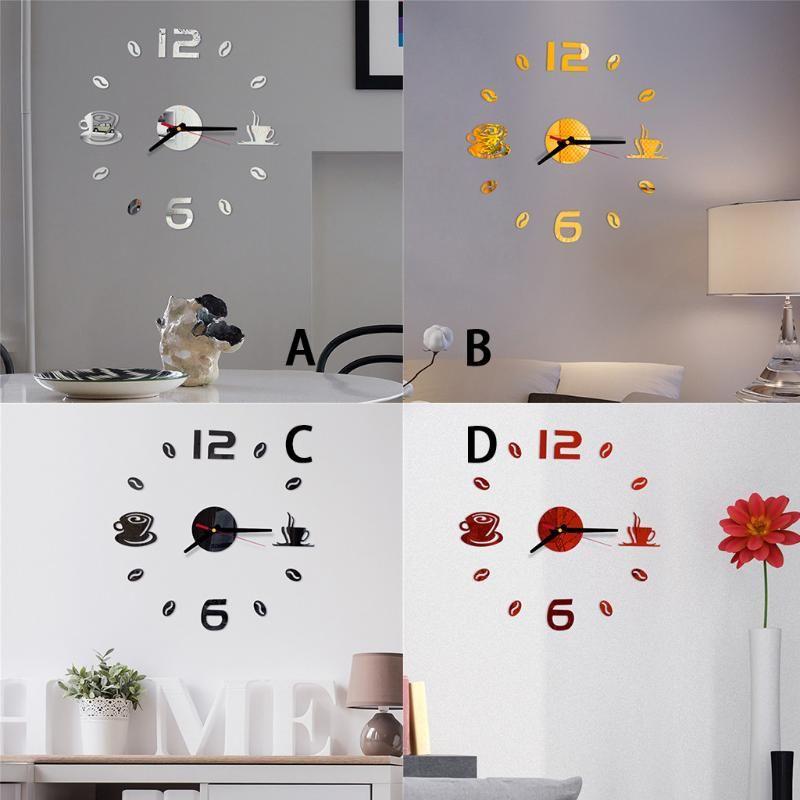 Kendinden yapışkanlı PVC yapıştırılmış ile 3d Diy Roman Numaraları Akrilik Ayna Duvar Sticker Saat Ana Salon Sessiz Saat