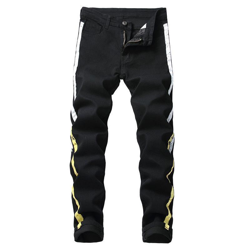 Erkek Skinny Jeans Giyim İlkbahar Denim Pamuk Düz Delik Pantolon Sıkıntılı Kot Pantolon Denim Erkek Siyah