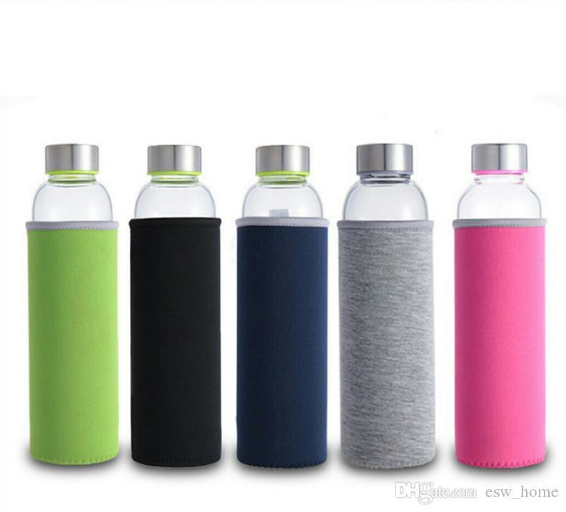стеклянная бутылка воды рукав бутылки с водой защитный мешок портативный многофункциональный применимые 280ml / 360ml /550ml