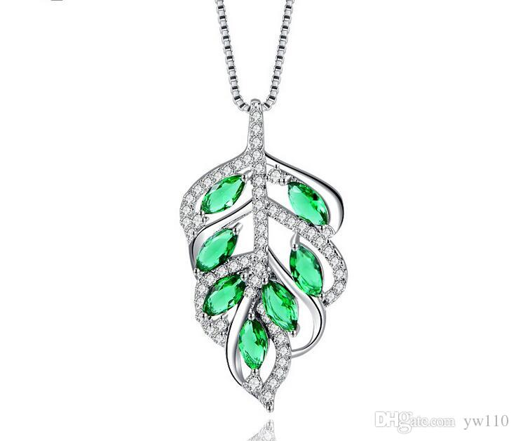 925 sterling silver necklace female Korean version of the temperament leaves zircon pendant clavicle chain girls fashion simple accessories