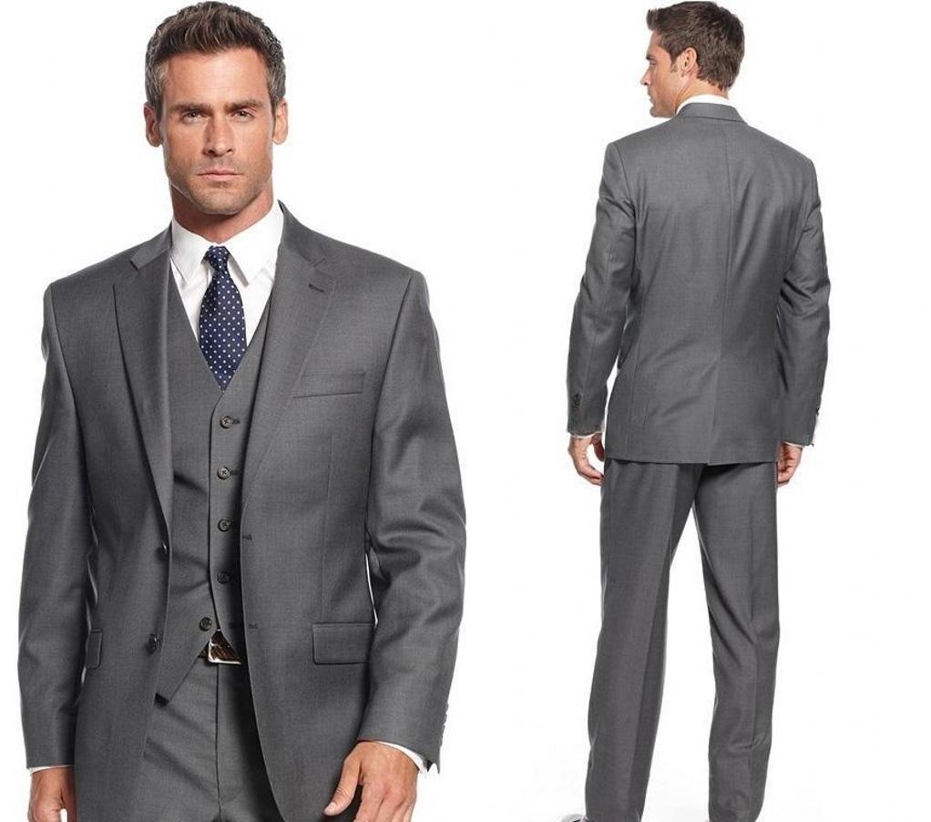 Custom Made Grey Men Wedding Suits Man Blazer Jacket Vest Pants Slim Fit Groom Tuxedos Bridegroom Suit 3 Piece Party Wear Costume Homme