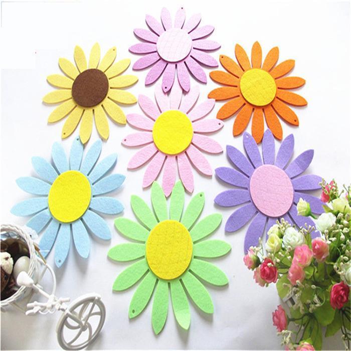 배너 15CM DIY 매달려 해바라기 아플리케 벽 펠트 도매 화려한 장식 꽃 양모 공예 꽃 유치원 룸 장식 펠트