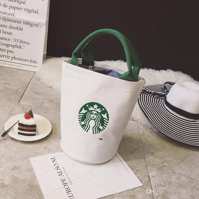 حقائب العلامة التجارية الجديدة مصمم ستاربكس حقيبة تسوق المرأة غداء حقيبة الأزياء حقيبة حمل قماش ذات جودة عالية