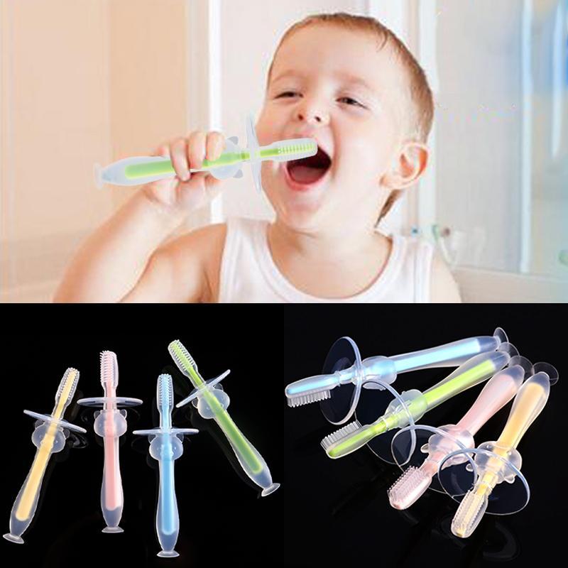 Diş Bakımı Diş fırçaları Bebek Bebekler Çocuklar Yumuşak Güvenli Bükülebilir diş kaşıyıcınız Eğitim Mitten Teething Diş Fırçası Fırça Diş Bakımı