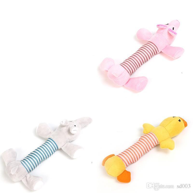 Chien en peluche Jouet pour chiot Pet Toy Bouchées Squeaky Canard Elephant Styles multiples Beau 3 9lc F1